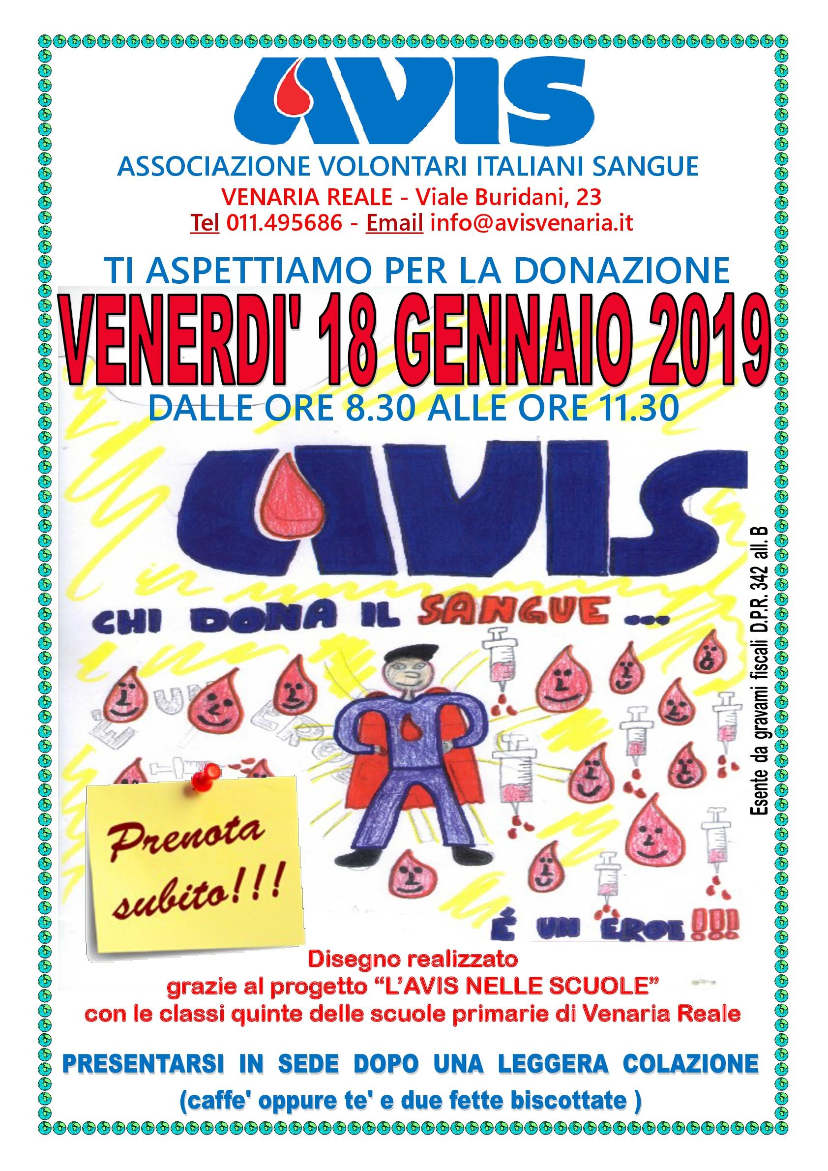Donazione sangue di Venerdì 18 gennaio 2019