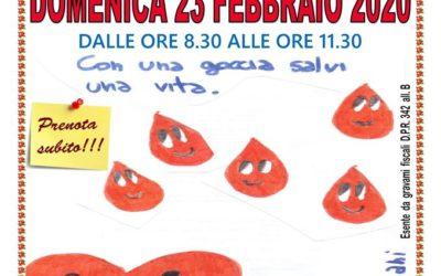Donazione sangue di Domenica 23 Febbraio 2020